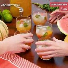Punch sans alcool au melon et à la pastèque #Recettepetitprix