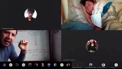 ¡Pero Sebastián! Profesor descubre a estudiante tomar la clase virtual acostado en la cama