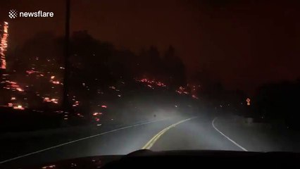 Terrifying footage of photographer's drive through wildfire in Napa County, California