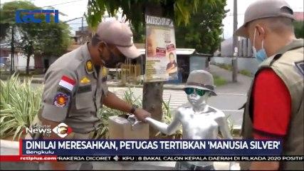 Petugas Tertibkan Manusia Silver di Jalanan Kota Bengkulu