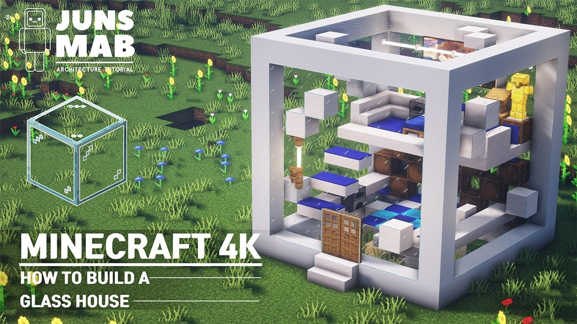 Minecraft - Glass House Tutorial|How to Build a Modern House in Minecraft  (#11)