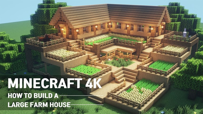 Minecraft House Tutorial -- How to build the ultimate farm house #90