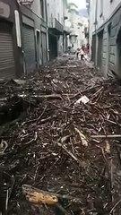 Impressionanti immagini da Garessio, strade sommerse dai detriti dopo l'esondazione del Tanaro