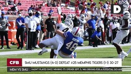 SMU Mustangs (4-0) DEFEAT #25 Memphis Tigers (1-1) 30-27