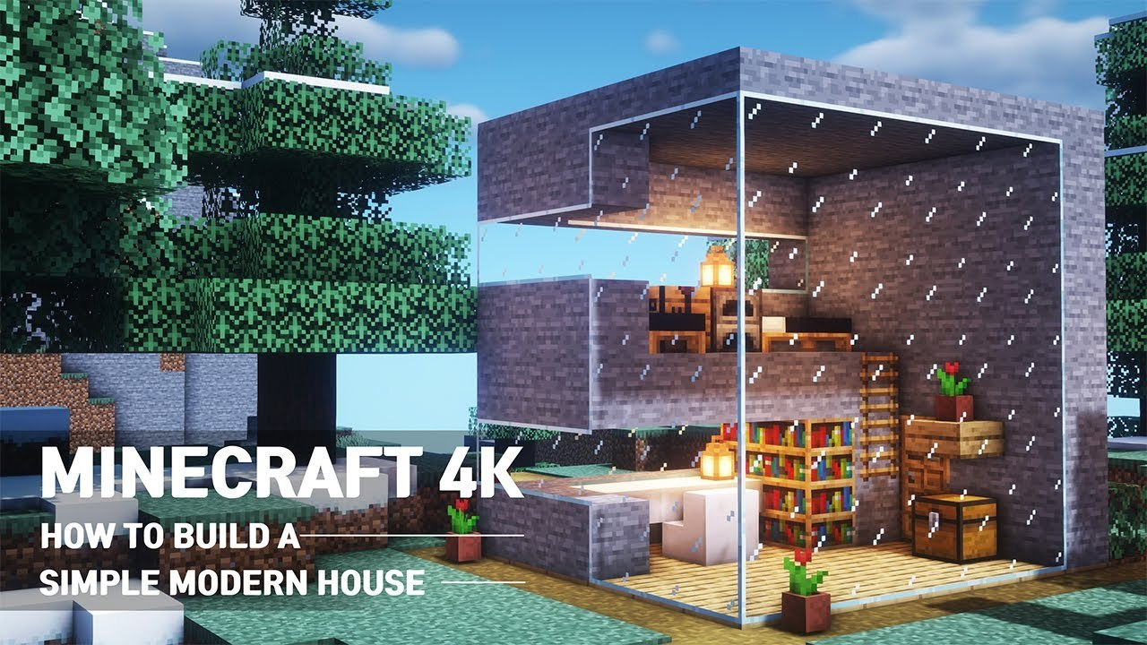 Minecraft Tutorial - How to Build a Small & Easy Modern House #12