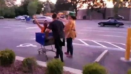 Girl getting pushed in a shopping trolly VID ID - VIDID