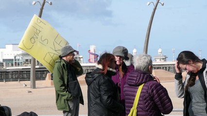 Anti-mask protest at Blackpool Tower
