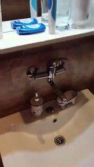 Lorsqu'on met un feu près de l'eau de ce robinet, elle se met à s'enflammer !