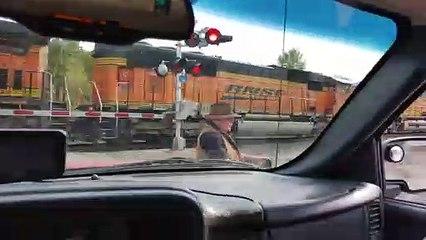 Un  fou en quad a failli être heurté par un train avec son chien