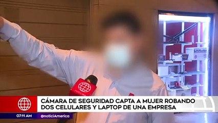 Cámaras captan a mujer robando dos celulares y una laptop de una empresa | Primera Edición (HOY)