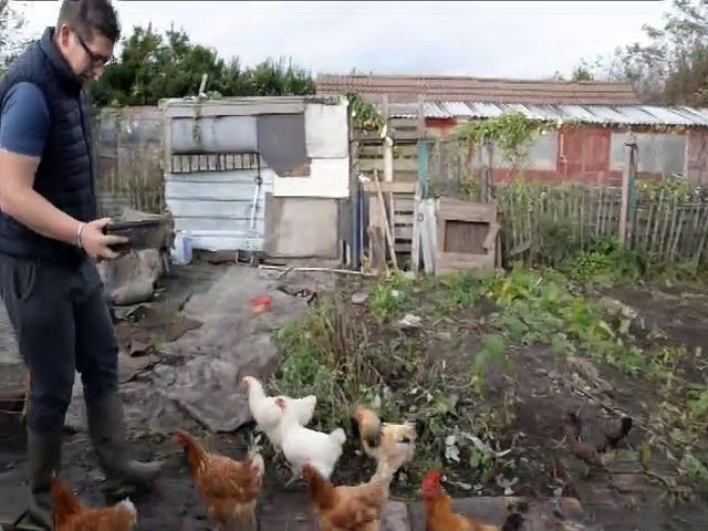 Brad Duffy on his allotment which he feels has saved his life by helping him get over illness including depression.