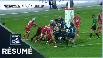 PRO D2 - Résumé RC Vannes-FC Grenoble Rugby: 19-14 - J7 - Saison 2020/2021
