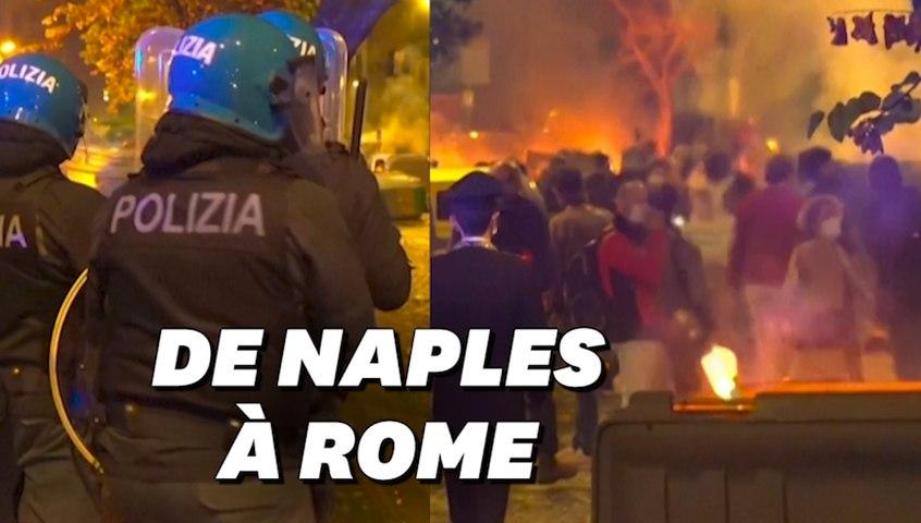 Affrontements à Rome entre manifestants d'extrême droite anti-couvre-feu et la police