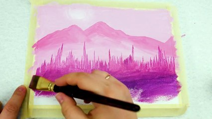 Easy Painting Acrylics Pink Landscape _ Relaxing Demo _ Daily Art Therapy