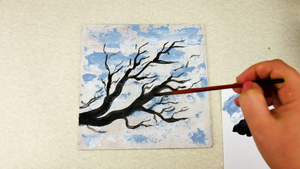 Red Branch _ Abstract Painting Demo _ Easy for beginners _ Relaxing