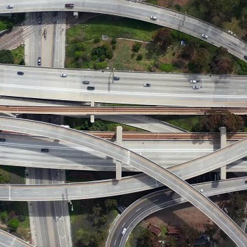 Aerial shot of the judge pregerson highway