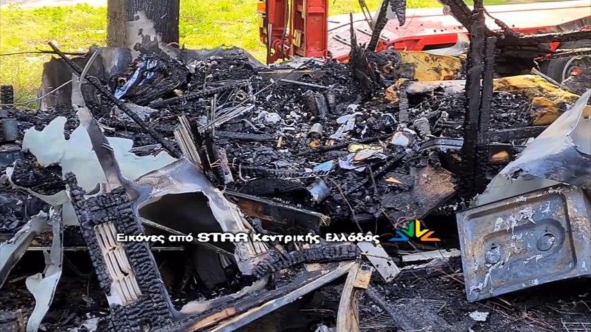 Κάηκε τροχόσπιτο που ζούσε άστεγος στη Λαμία