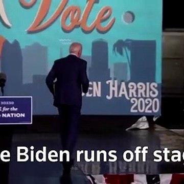 Biden runs off-stage as rain cuts rally short