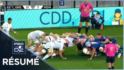 PRO D2 - Résumé FC Grenoble Rugby-Stade Montois Rugby: 24-17 - J8 - Saison 2020/2021