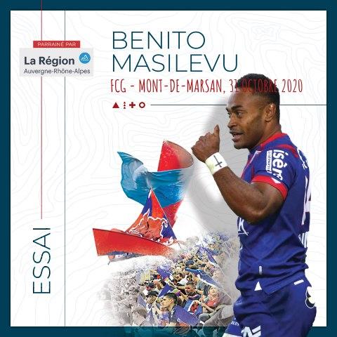 Rugby : Video - L'essai de Benito Masilevu face à Mont-de-Marsan, saison 2020-2021
