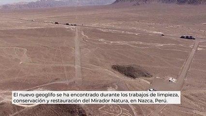 Aparece el geoglifo de un felino en Nazca, Perú.