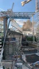 Incendio en las obras del Santiago Bernabéu