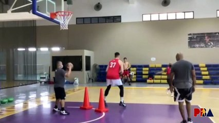 Ginebra rookie Ken Sagulo works on post moves in practice