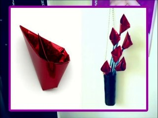 Make Red Glitter Flowers - Origami Calla Lily