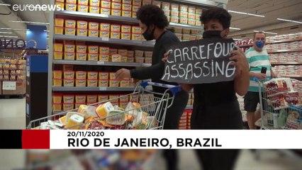 خشم معترضان برزیلی نسبت به مرگ یک مرد سیاه پوست در فروشگاه کارفور