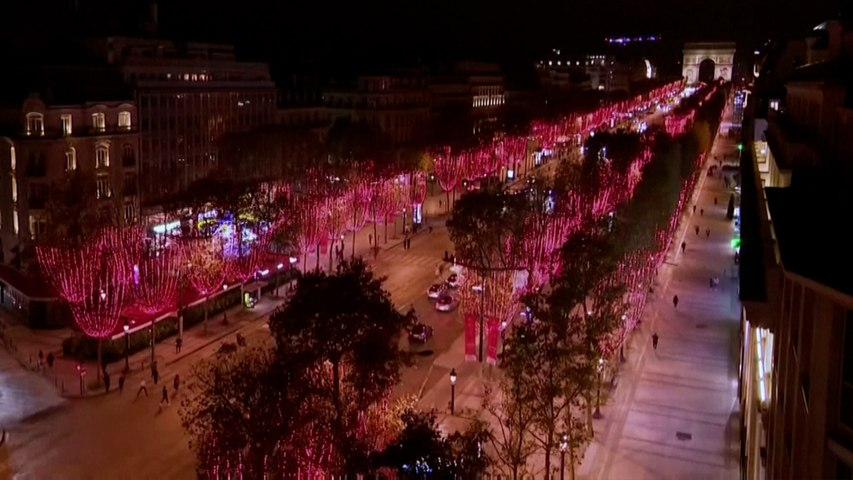 Christmas lights go on in Paris were streets remain empty because of second  coronavirus lockdown