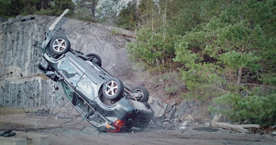 Watch how Volvo Cars drops new cars from 30 metres to help rescue services save lives