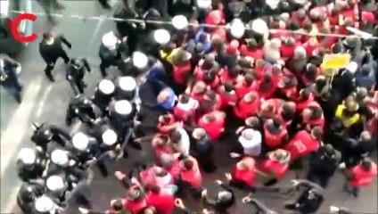 Polisten metal işçilerine müdahale