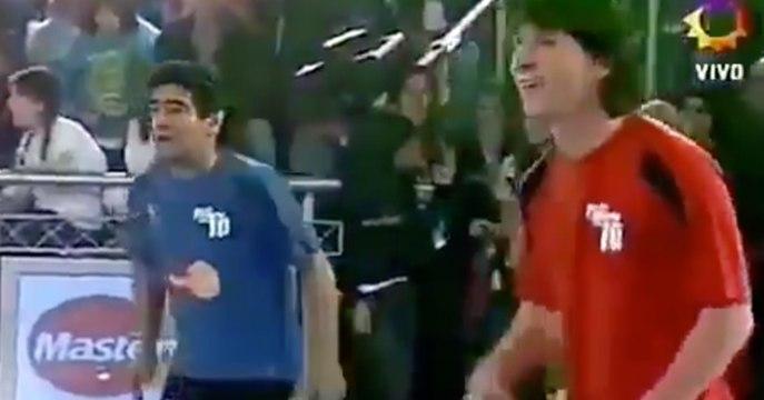 Quand Maradona et Messi faisaient équipe lors d'un tennis-ballon