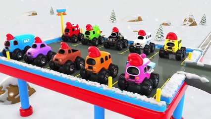Learn Colors with Preschool Toy Train and Monster Street Vehicles Parking