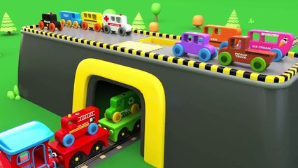 Learn Colors with Wooden Street Vehicles Toys and Preschool Toy Train