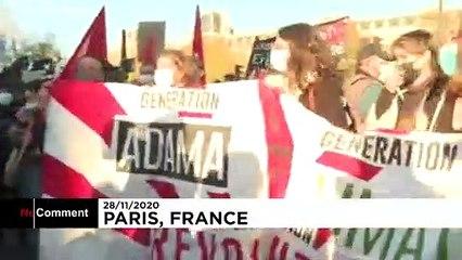 ویدئو؛ تظاهرات صدها هزار نفری در فرانسه در اعتراض به قانون جامع امنیتی
