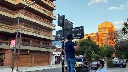 Homenaje a Maradona en Segurola y Habana