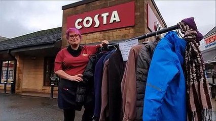 Debbie Beveridge manager of Costa Central Retail Park Falkirk explains about coat donations