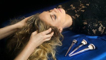 Sleepy Spa ASMR ♥ Scalp Massage & Face Brushing ♥ Whispers & Ultra Close Hair Sounds, Sleep, Stress