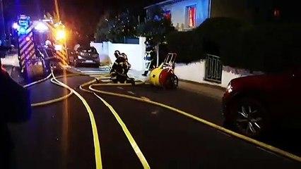 MONTPELLIER - Les sapeurs pompiers de l'Hérault interviennent sur un feu de pavillon