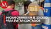 Instalan filtros sanitarios en Zócalo de CdMx; impiden paso a quienes no usan cubrebocas