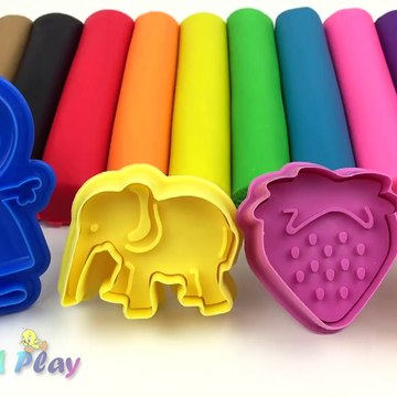 Learn Colors with Play Doh Modelling Clay and Cookie Molds and Surprise