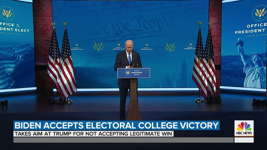 President-Elect Biden Addresses Nation As Electoral College Confirms His Victory