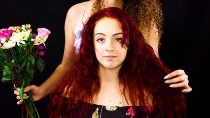 Beautiful ASMR Hair Styling with Flowers - Corrina & Lexi