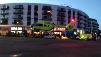 Yorkshire Air Ambulance takes off from North Bay, Scarborough