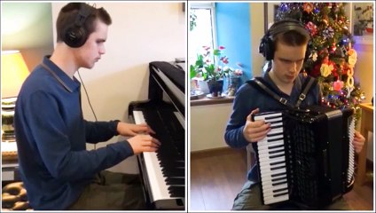 Talented pianist Ethan David Loch performs Carol of the Bells on piano and accordion