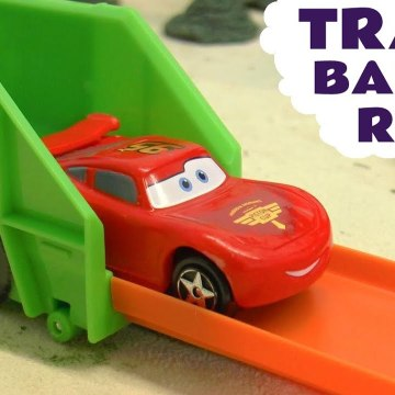 Hot Wheels Trash Basher Challenge with Disney Pixar Cars 2 Lightning McQueen versus Toy Story and Marvel Avengers in this Family Friendly Funny Funlings Race Full Episode English Video for Kids from Toy Trains 4U