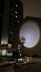 Théâtre d'ombres sur les bâtiments du Logement bruxellois par le Théâtre du N-ombr'île