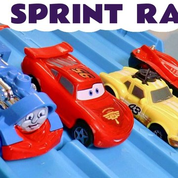 4 Lane Hot Wheels Sprint Knockout Race with Disney Pixar Cars Lightning McQueen versus PJ Masks and Marvel Avengers Superheroes in this Family Friendly Funny Funlings Race from Kid Friendly Family Channel Toy Trains 4U