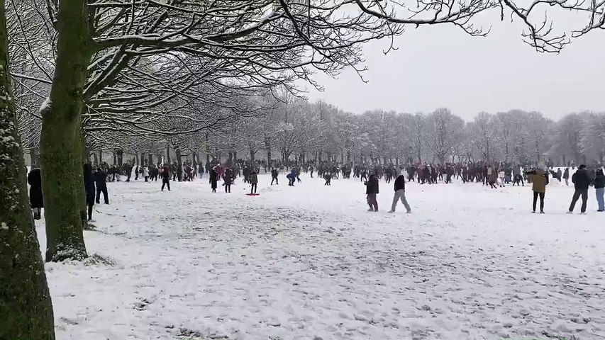 Snowball fight on Woodhouse Moor